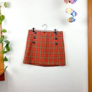 GAP Plaid Mini Skirt 6 Button Zip Closure Pocket 4